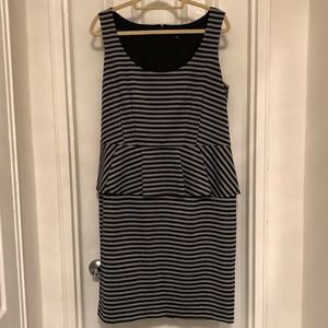ANN TAYLOR Size 16 Black &Gray Stripe Peplum Dress